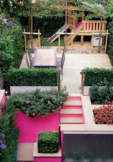 Jardín decorado en rosa 1