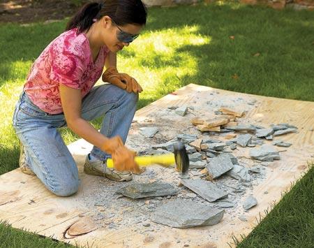 C mo construir un camino de ladrillos o piedras for Jardines con madera y piedra