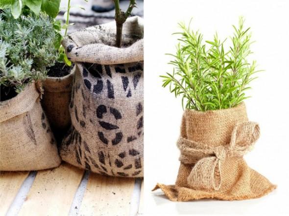 el uso de sacos de yute en el jardín