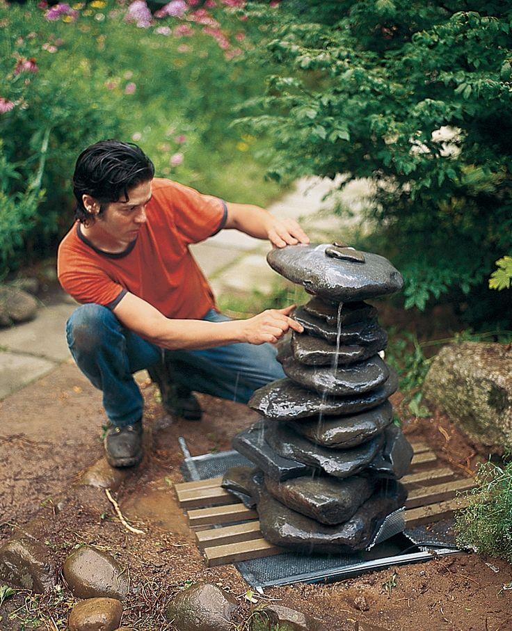 Fuente con cascada de piedras paso a paso - Fuentes para jardin de piedra ...