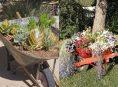 imagen 10 ideas para adornar el jardín con carretillas con flores